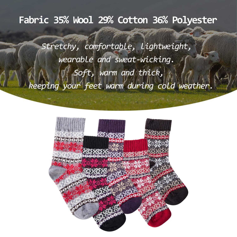 Justay 5Paries Chaussettes Femme Homme en Laine pour Hiver Chaude Respirant /Épais Multicolore