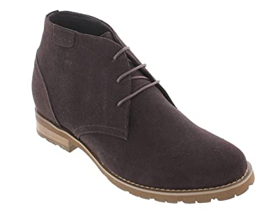 ae3e90ca17a CALTO Men's Invisible Height Increasing Elevator Shoes - Chocolate Brown  Nubuck Leather Lace-up High-top Chukka Style Dress Boots - 3 Inches Taller  - ...
