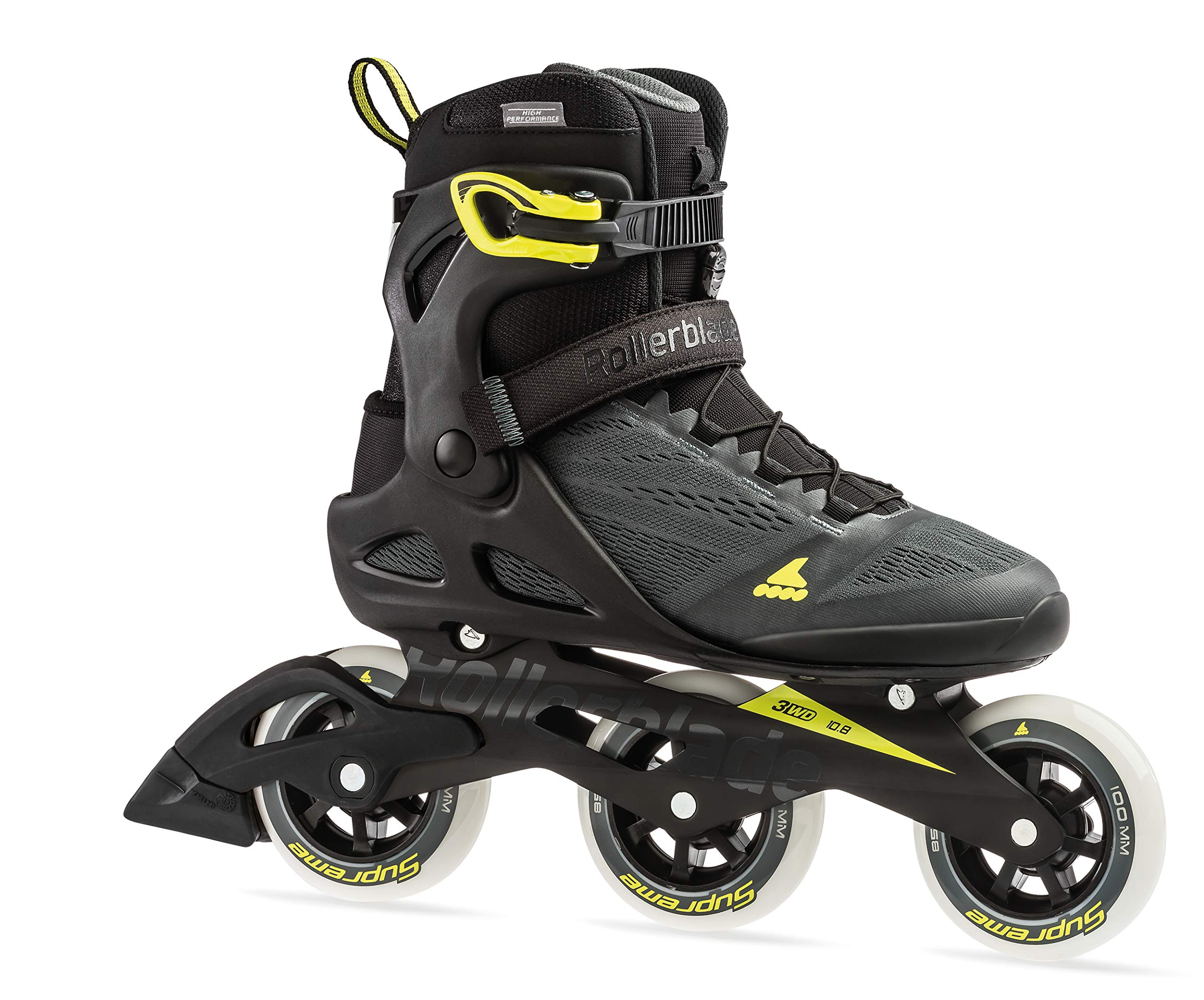 Rollerblade Macroblade 100 3Wd Men's Adult Fitness Inline Skate, Anthracite/Neon Yellow, Medium 6