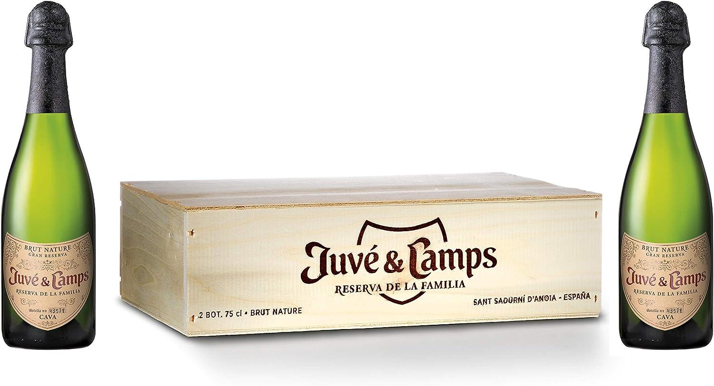 Juvé & Camps | Cava Reserva de la Familia Gran Reserva Brut Nature | Caja de madera 2 botellas de 75 cl | Macabeu, Xarel·lo, Parellada: Amazon.es: Alimentación y bebidas