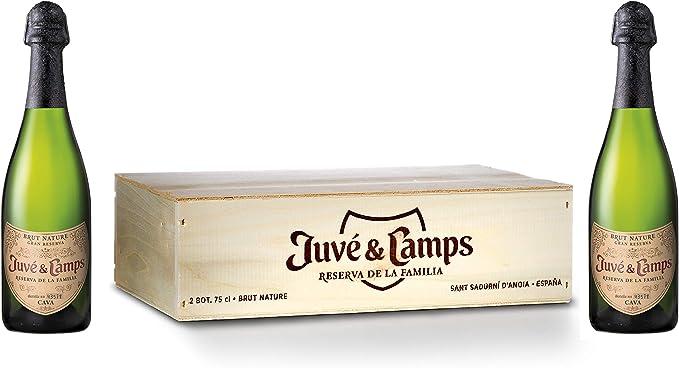 Juvé & Camps | Cava Gran Reserva Familia Brut Nature | Caja de madera 2 botellas de 75 cl | Macabeu, Xarel·lo, Parellada: Amazon.es: Alimentación y bebidas