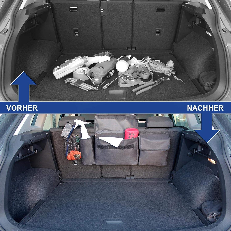 Nero Borsa salvaspazio per sedile posteriore Organizer auto bagagliaio per utensili da viaggio e giocattoli Borsa di qualit/à da appendere nel bagagliaio e organizer per sedile posteriore
