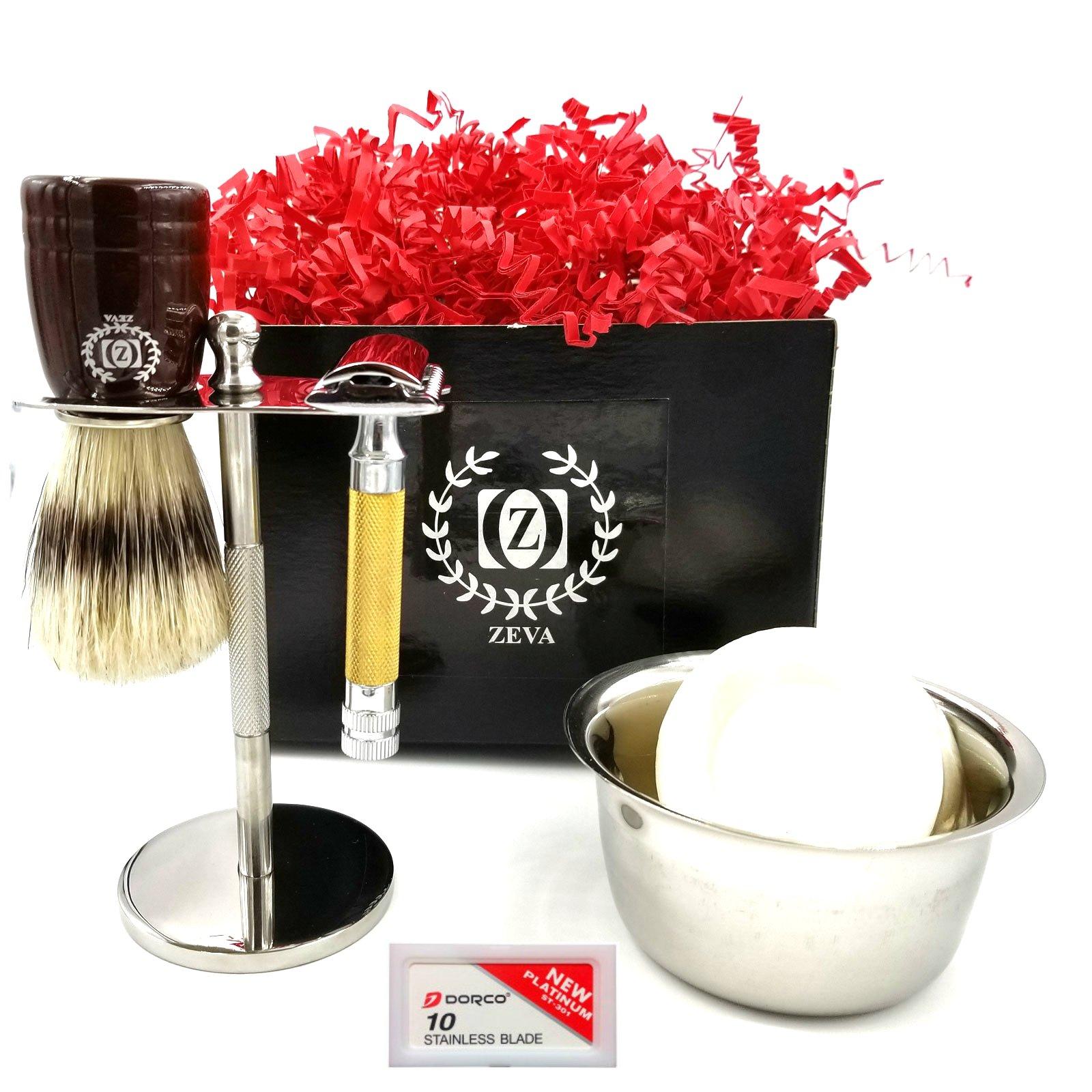 Badger Shaving Brush ZEVA Men Shaving Set Gold Handle DE Safety Razor Complete grooming kit sensitive skin with 10 Dorco Blades