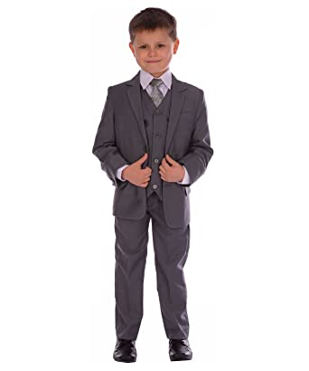 ee708e7571a88 Poshtotz Garcons Costume 5pc gris moyen