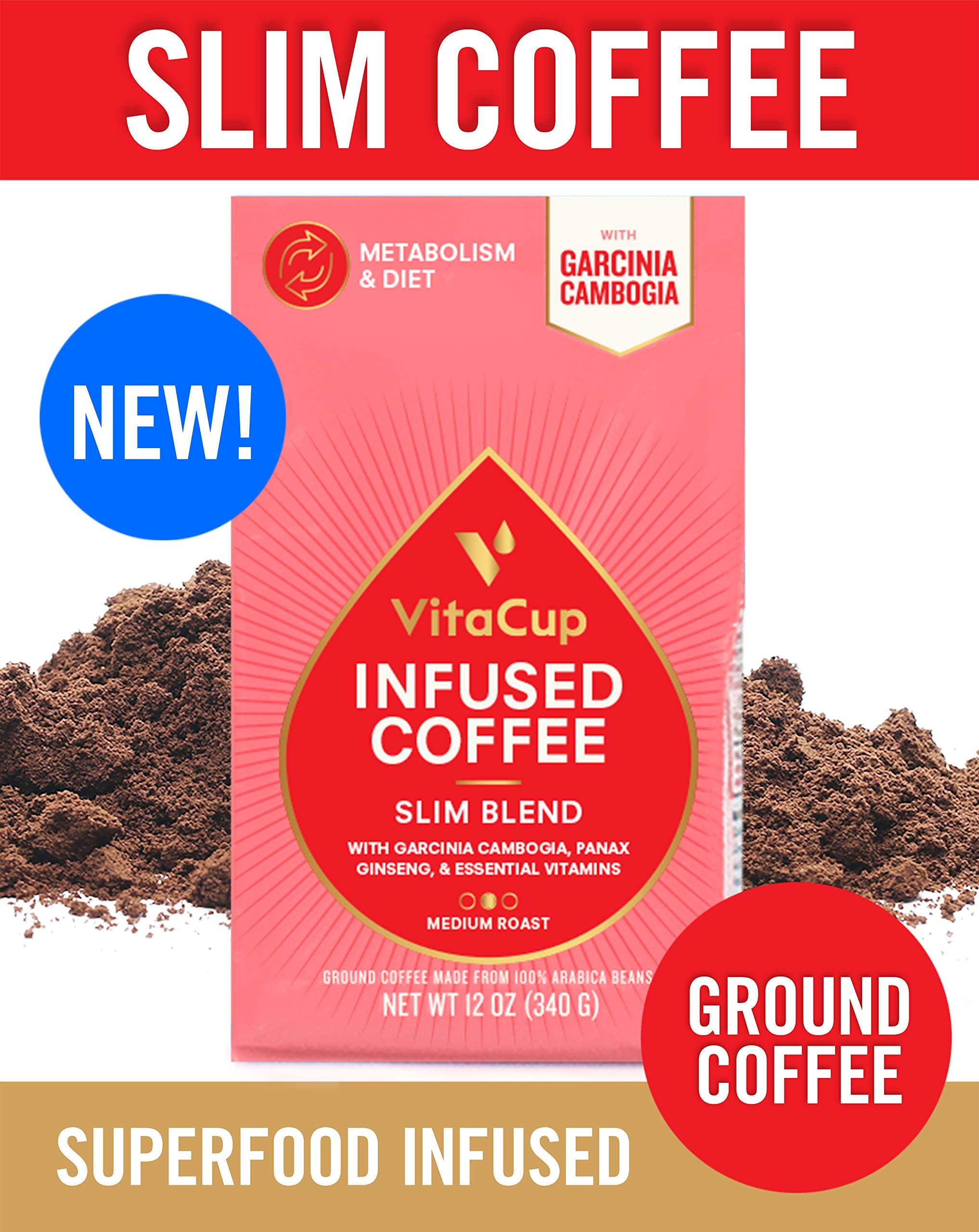 VitaCup Slim Blend Ground Coffee Bags 12oz | Diet & Metabolism | Garcinia & Ginseng | Keto & Paleo Friendly | Vegan | B Vitamins | for Drip Coffee Brewers and French Press by VitaCup