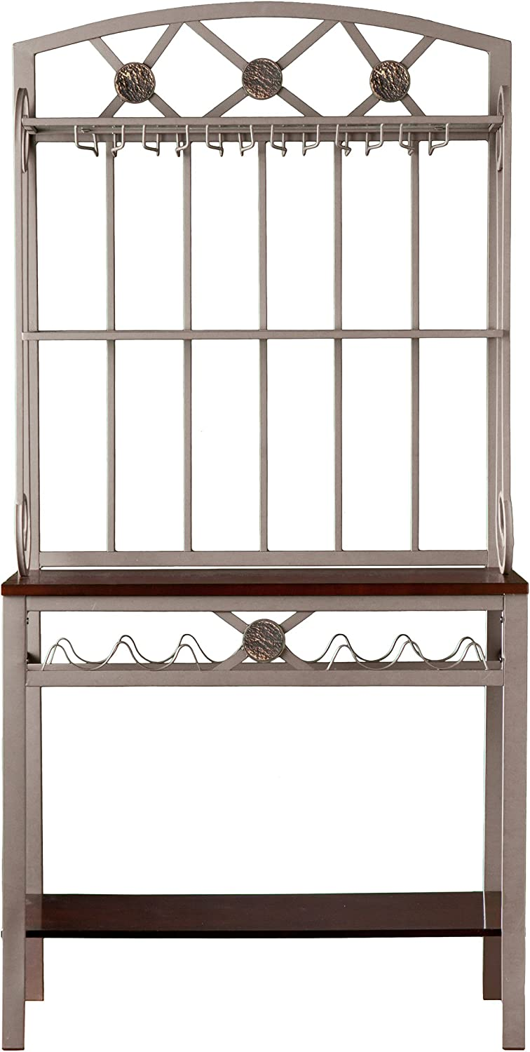 Home Decorators Collection Decorative Baker' s Rack with Wine Storage, 67.75Hx31.25W, Coffee Brown