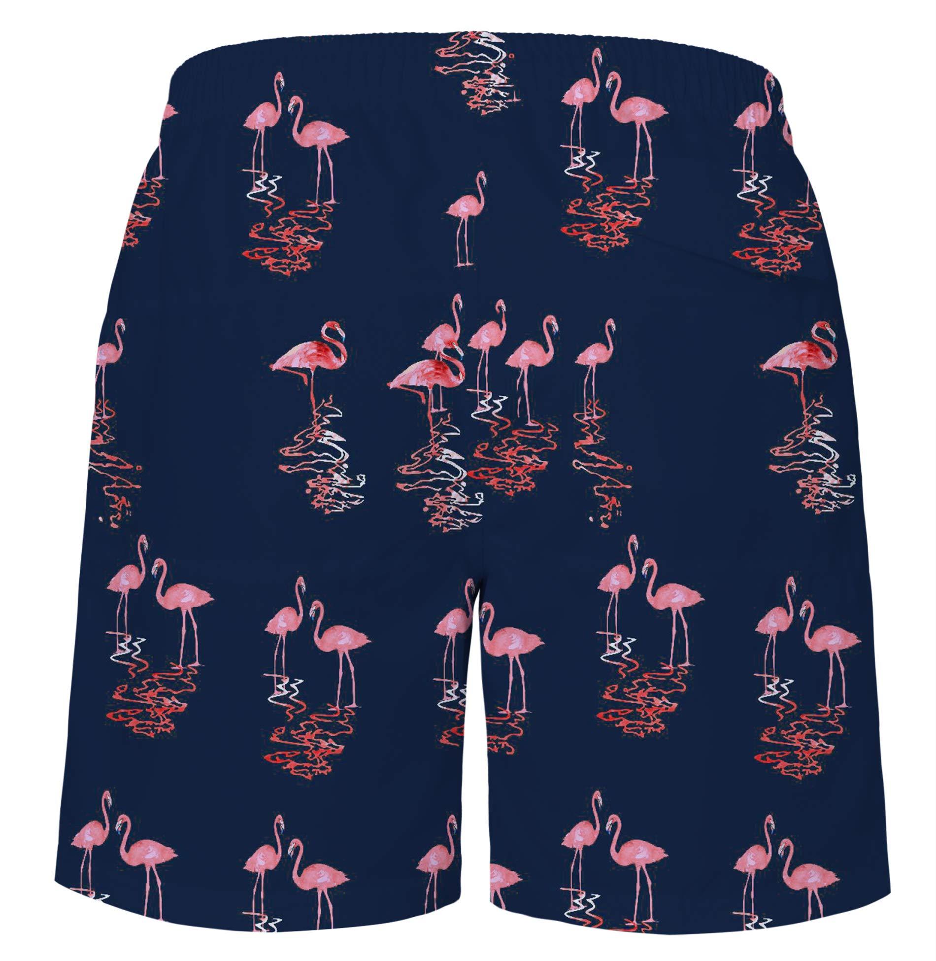 UNICOMIDEA Men\'s Beach Shorts Pink Flamingo Flowers Swim Trunks Slim Fit Quick Dry Sportwear Swim Shorts Elastic Waistband Swimtrunks