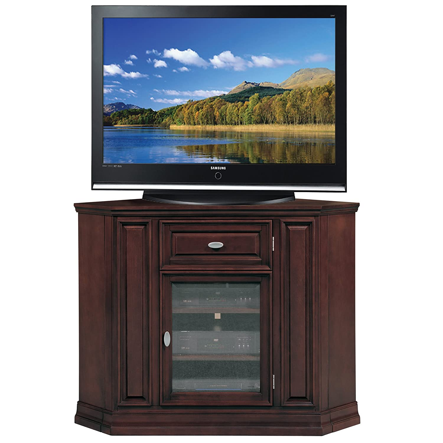 Cheap legends furniture cambridge fireplace media center in cherry - Amazon Com Leick Home Riley Holliday 46 Corner Tv Stand Chocolate Cherry Finish Kitchen Dining
