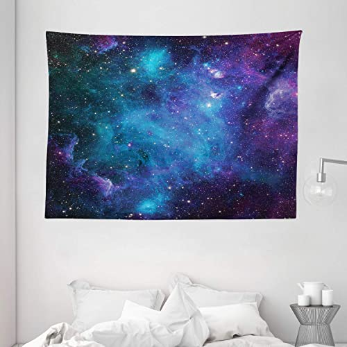 Ambesonne Space Decor Tapestry by, Galaxy Stars in Space Celestial Astronomic Planets in The Universe Milky Way Print, Wall Hanging for Bedroom Living Room Dorm, 80 X 60 , Navy Purple