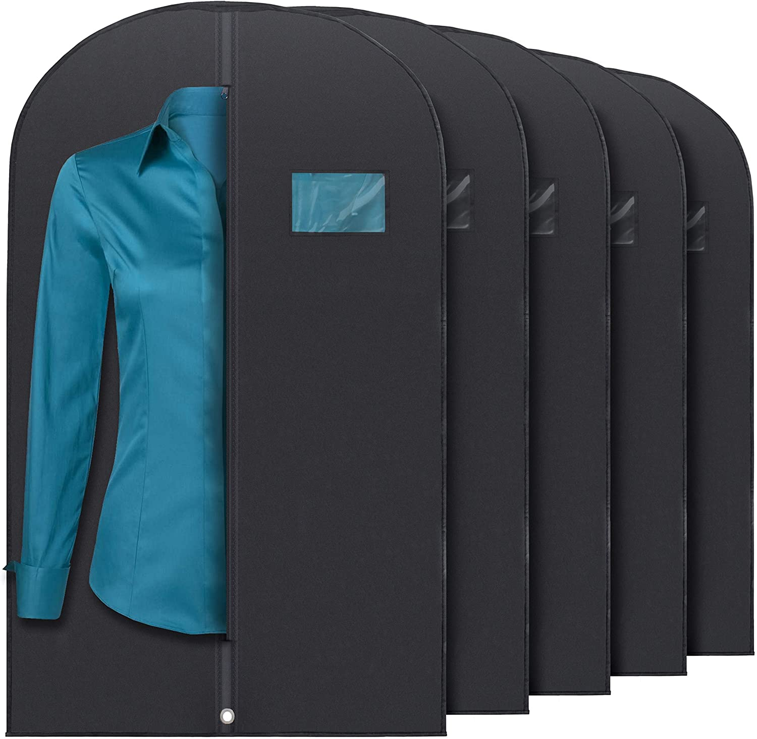 """Plixio Garment Bags Suit Bag for Travel and Clothing Storage of Dresses, Dress Shirts, Coats— Includes Zipper and Transparent Window (Black- 5 Pack: 40""""): Home & Kitchen"""