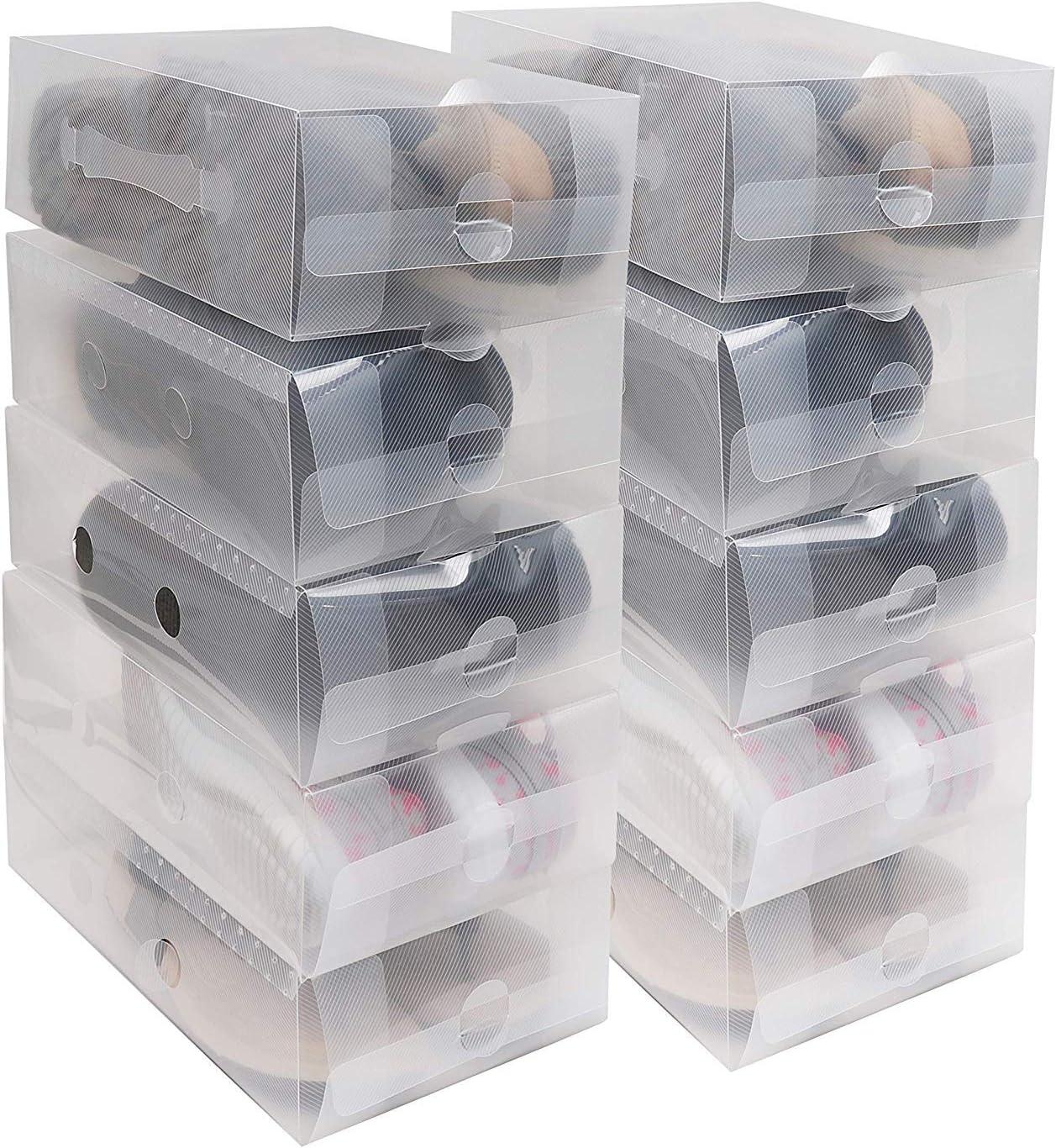 Kurtzy Shoe Box (20 Pcs) - Clear Plastic Shoe Boxes 18x30.5x10cm - Stackable and Foldable Storage for Ladies Men - Transparent Shoe Organizer