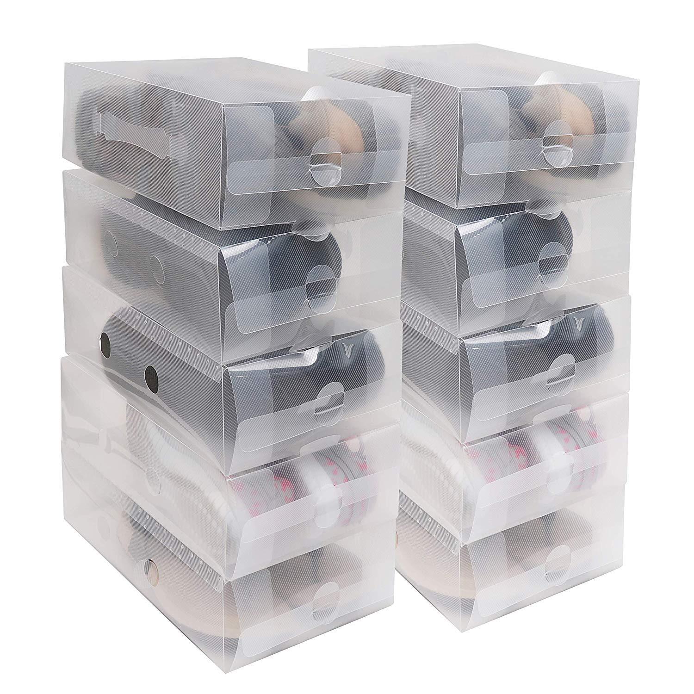 Kurtzy Cajas Guardar Zapatos (Pack 20) - (18 x 30.5 x 10 cm) Plástico Corrugado Transparente Plegables Organizador Zapatos Impermeable Cajas - Caben Zapatos Pequeños, Medianos - Ideal para Viajes