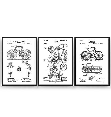Bicicleta Poster de Patente - Conjunto de 3 Impresiones - Patent ...