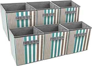 Sorbus Foldable Storage Cube Basket Bin, Vertical Stripe Line Pattern (6 Pack, Aqua)