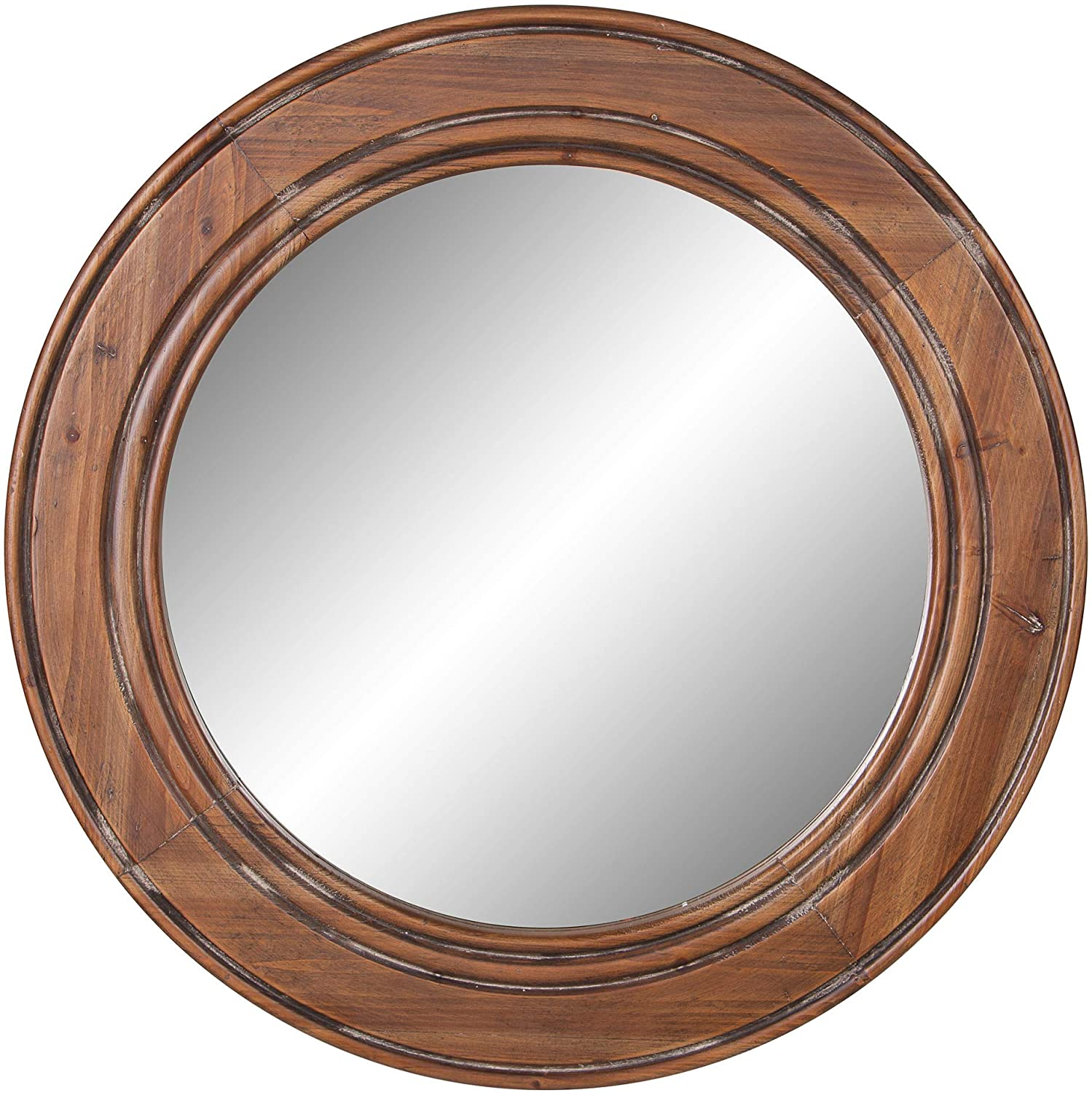 Amazon Com Reclaimed Wood Large Round Wall Accent Mirror Home Kitchen