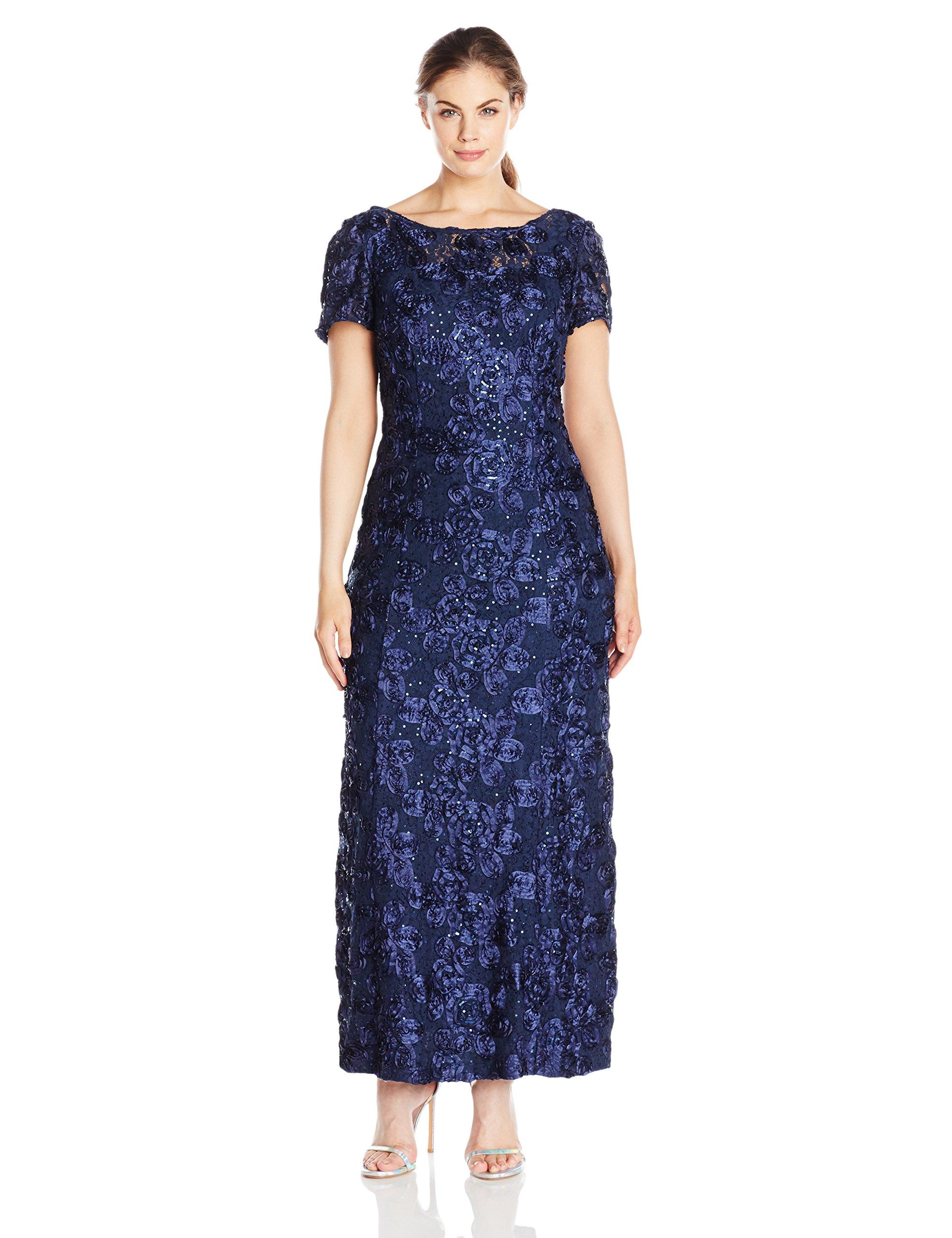 53a8c47d4b ... Dresses Alex Evenings Women s Plus-Size Long A-Line Rosette Dress with  Short Sleeves