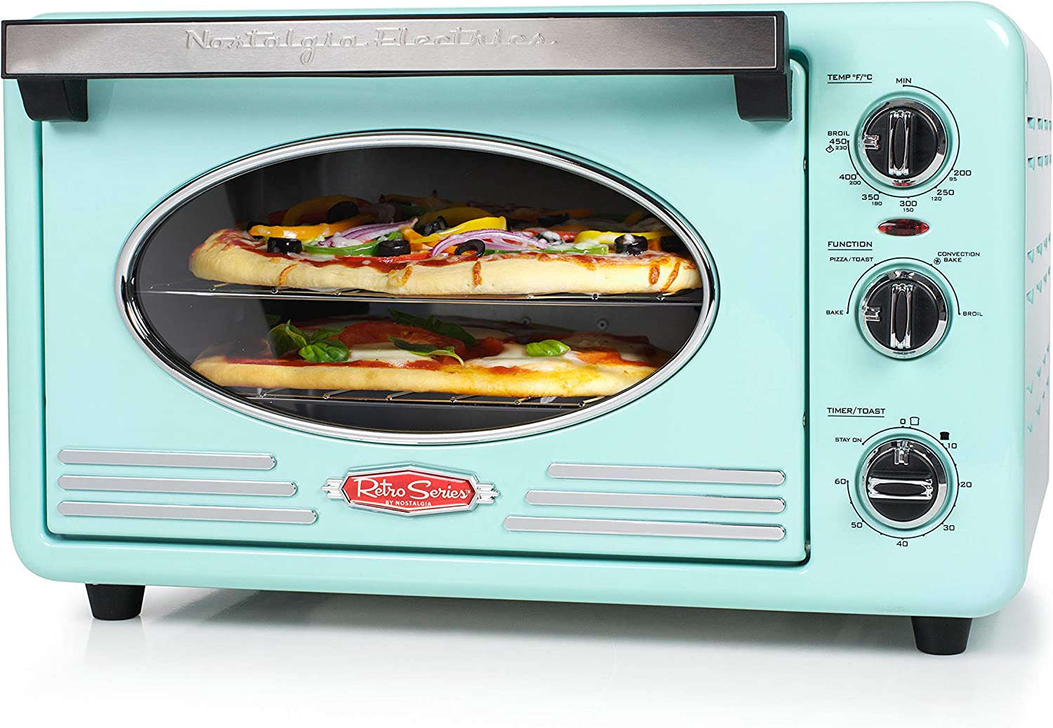 Nostalgia RTOV2AQ Large-Capacity 0.7-Cu. Ft. Capacity Multi-Functioning Retro Convection Toaster Oven, Fits 12 Slices of Bread and Two 12-Inch Pizzas, Built In Timer, Includes Baking Pan,Aqua