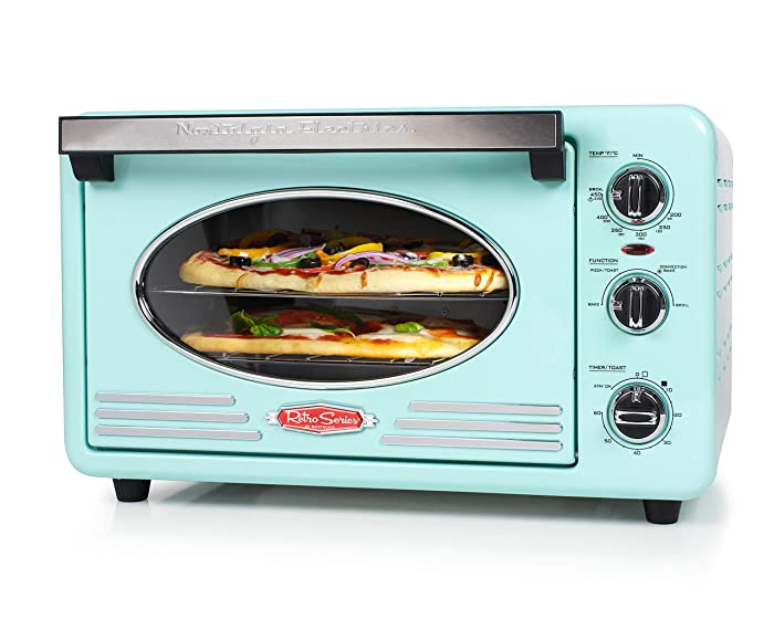 Nostalgia RTOV2AQ Large-Capacity 0.7-Cu. Ft. Capacity Multi-Functioning Retro Convection Toaster Oven, Fits 12 Slices of Bread and Two 12-Inch Pizzas, Built In Timer, Includes Baking Pan