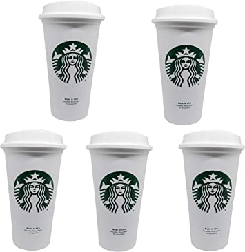 Starbucks Reusable Travel Cup to Go Coffee Cup (Grande 16 Oz) 5 Pack