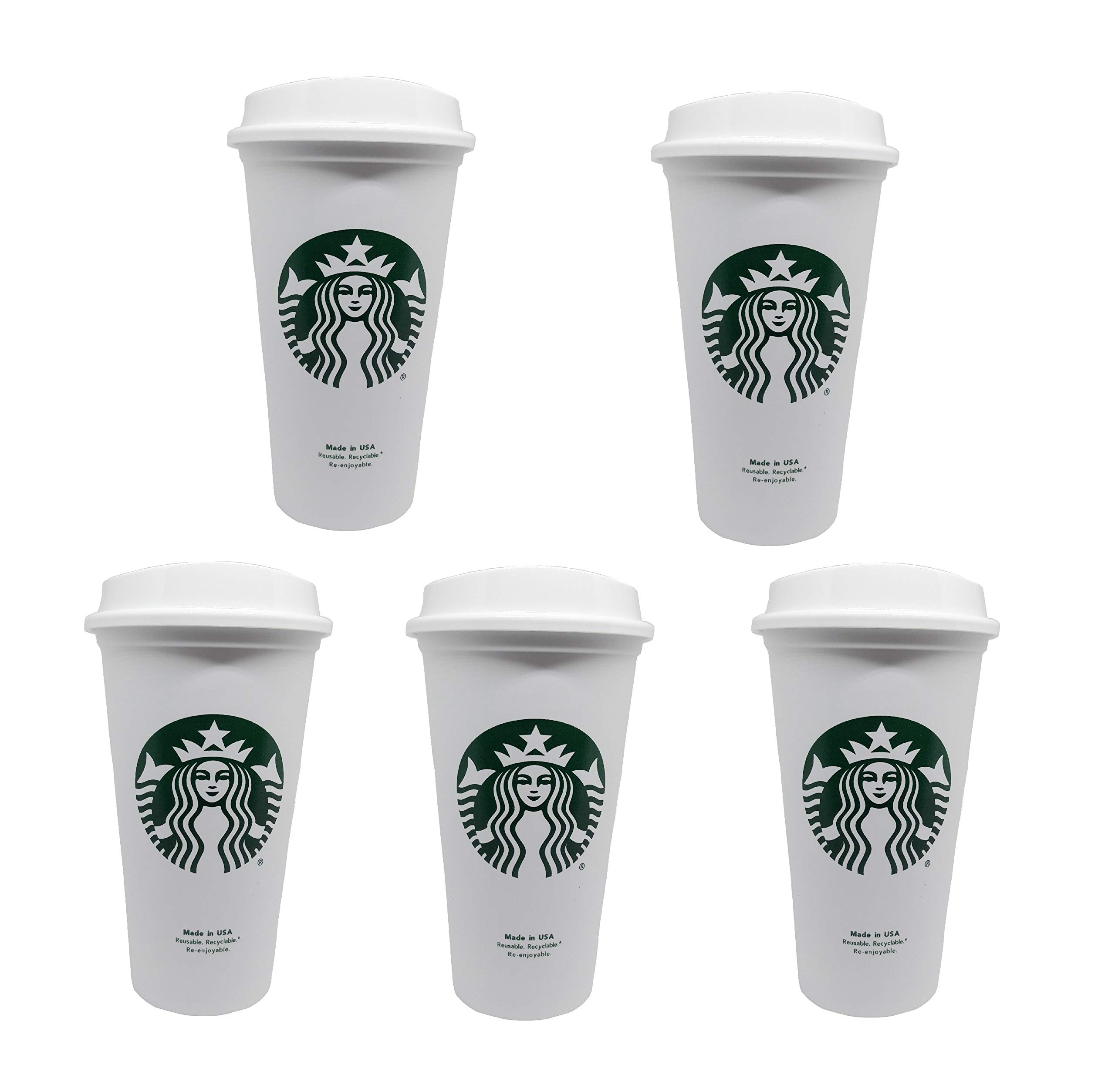 Starbucks Reusable Travel Cup To Go Coffee Cup (Grande 16 Oz)5 pack