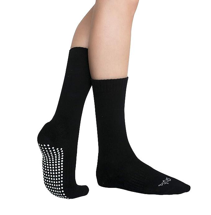 Skyba Calcetines antideslizantes tipo zapatilla - calcetines de hospital cómodos con picos antideslizantes para hombres y mujeres adultos (2 pares- negro): ...
