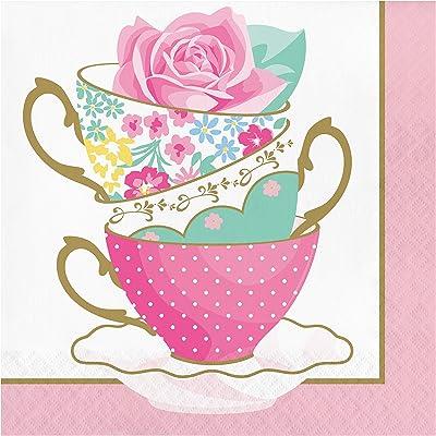 Floral Tea Party Teacup Napkins, 16 ct: Toys & Games