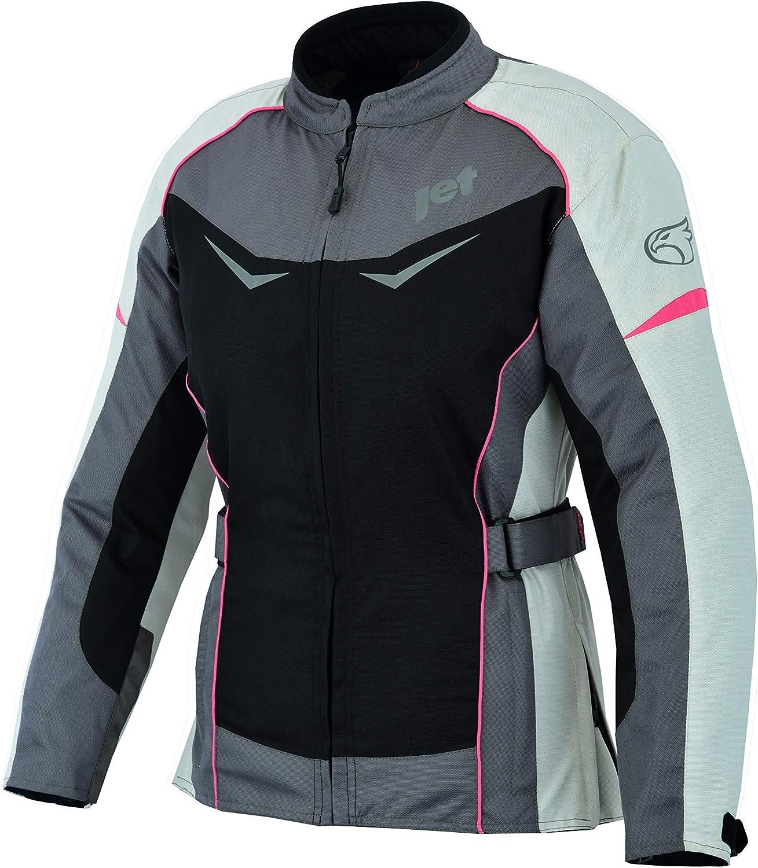 , Grau//Pink 4XL Jet Motorradjacke Damen Mit Protektoren Textil Winddicht Sommer Winter ROCHELLE EU 48