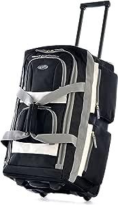Olympia 8 Pocket Rolling Duffel Bag, Black, 26 inch