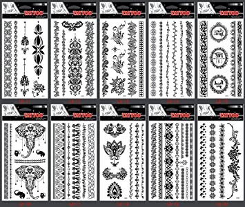 Amazon.com : Look like real temporary tattoos 10pcs Black Indian ...