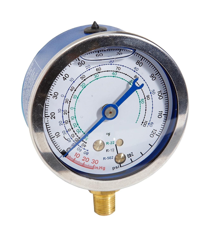 Robinair TIF9622B 63mm Glycerin Filled Zero-Adjustable Low Side Compound Gauge