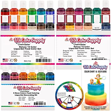 Amazon.com : 30 Color Cake Food Coloring Liqua-Gel Decorating Baking ...
