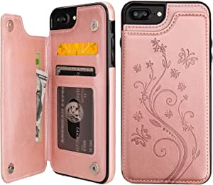 Vaburs iPhone 7 Plus iPhone 8 Plus Case Wallet with Card Holder, Embossed Butterfly Premium PU Leather Double Magnetic Buttons Flip Shockproof Cover for iPhone 7/8 Plus Case (Rose Gold)