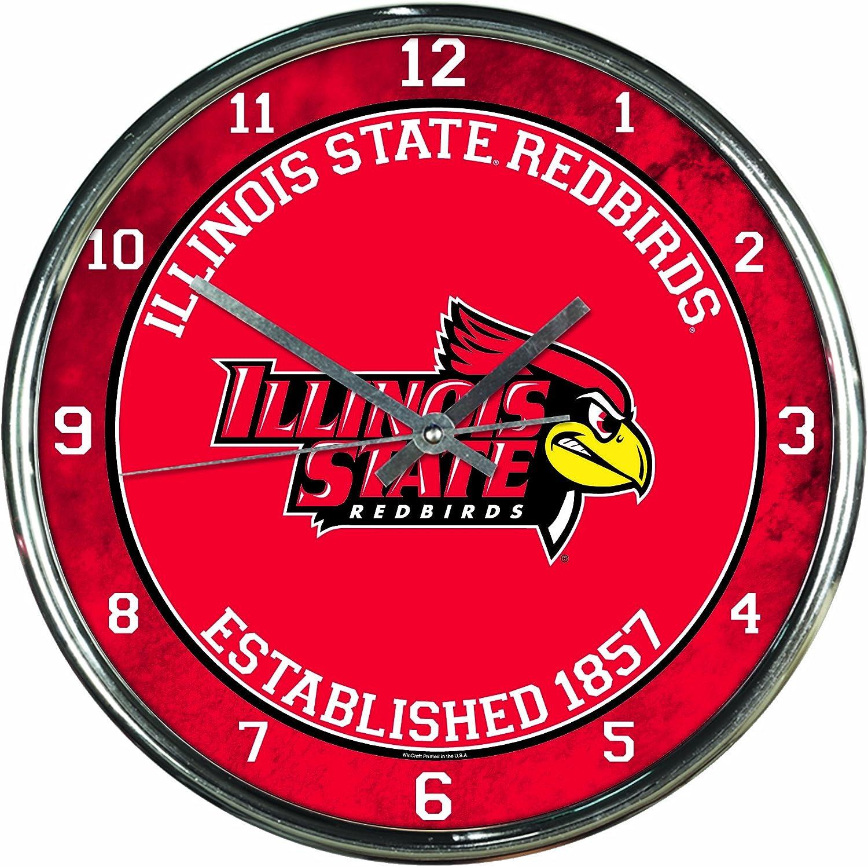 NCAA Illinois State Redbirds Chrome Clock