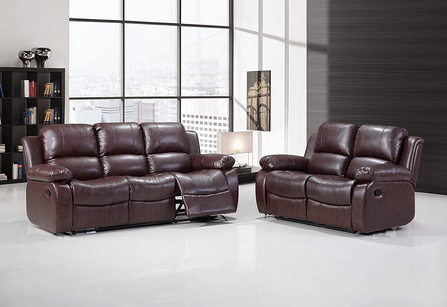 Hodedah Import HI7333 BROWN 3 Piece Sofa Recliner