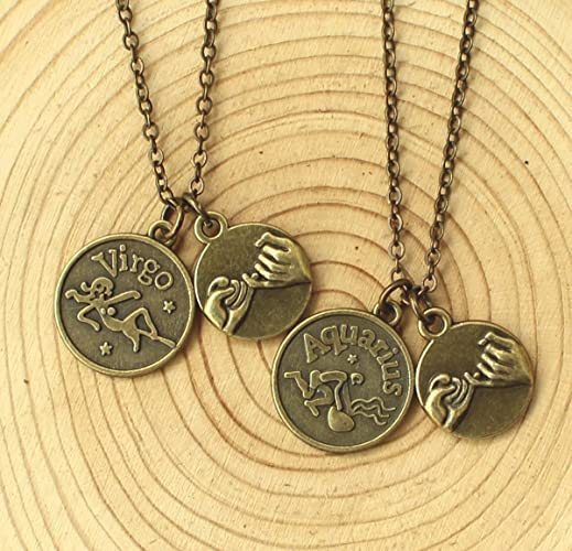 Custom Personalized Zodiac Necklace Friendship Necklace ,Best Friend