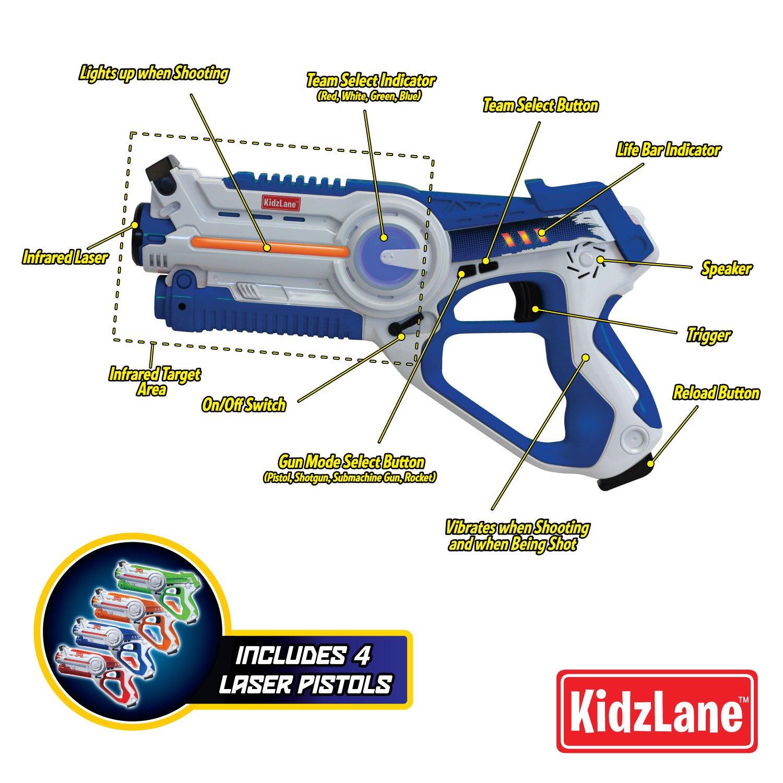 Kidzlane Infrared Laser Tag : Game Mega Pack - Set of 4 Players - Infrared Laser Gun Indoor and Outdoor Group Activity Fun. Infrared 0.9mW by Kidzlane (Image #3)