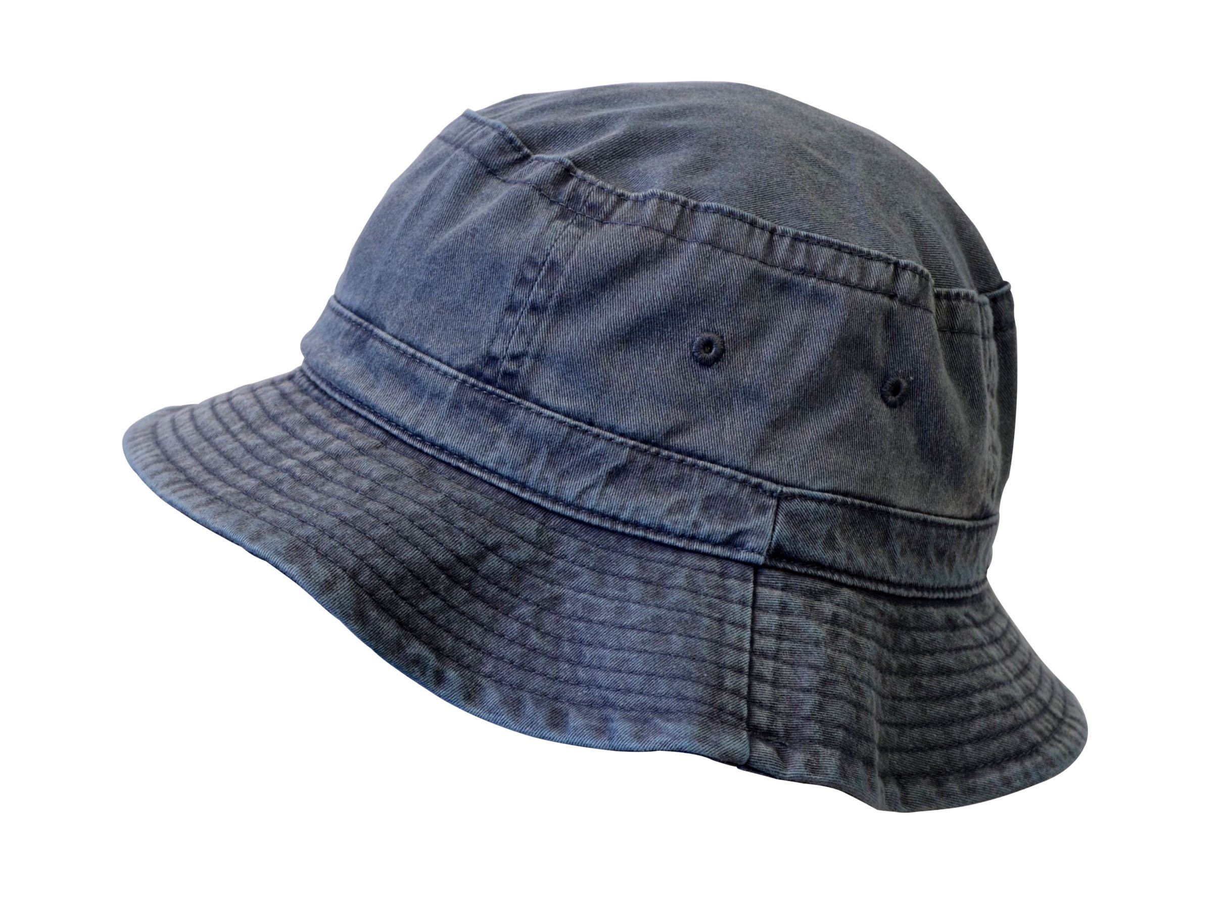 KC Caps Denim Summer Bucket Hat, Unisex Pigment Dyed Washed Garment Outdoor Hat