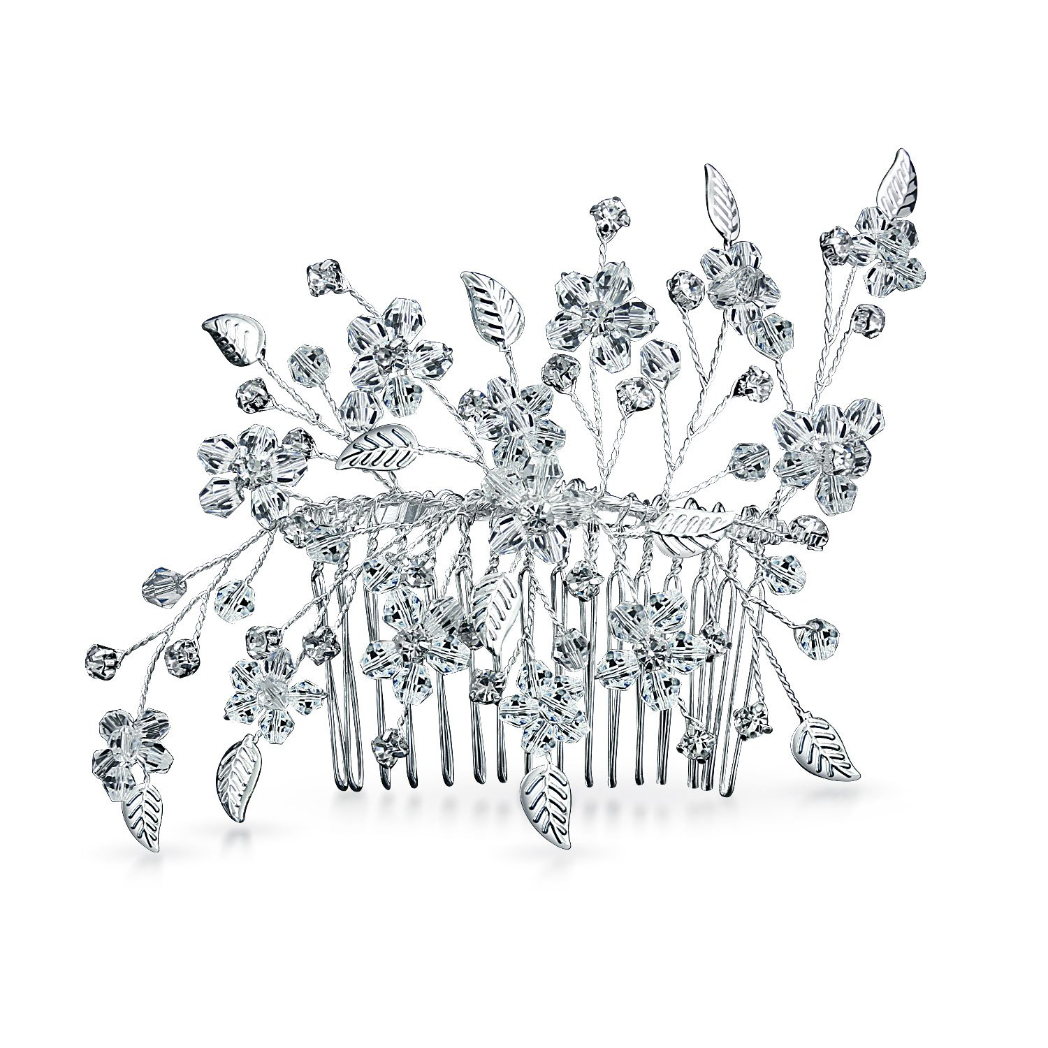 Bling Jewelry Silver Plated Leaf Crystal Flower Bridal Side Hair Comb TK-RT-FC185
