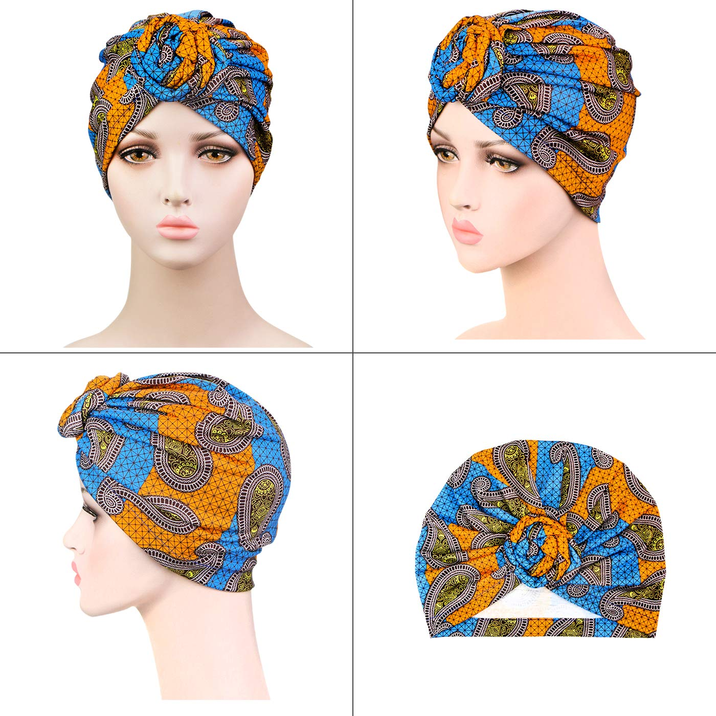 Twist Head Wrap Beanie Perfect for Long//Short Hair 2 Pieces Women Knotted Turban Caps