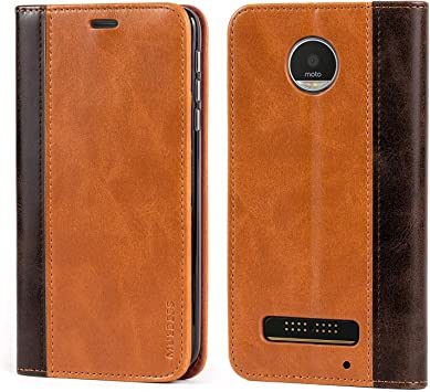 Mulbess Funda Motorola Moto Z Play [Libro Caso Cubierta] Billetera Cuero Carcasa para Motorola Moto Z Play Case, Marrón: Amazon.es: Electrónica