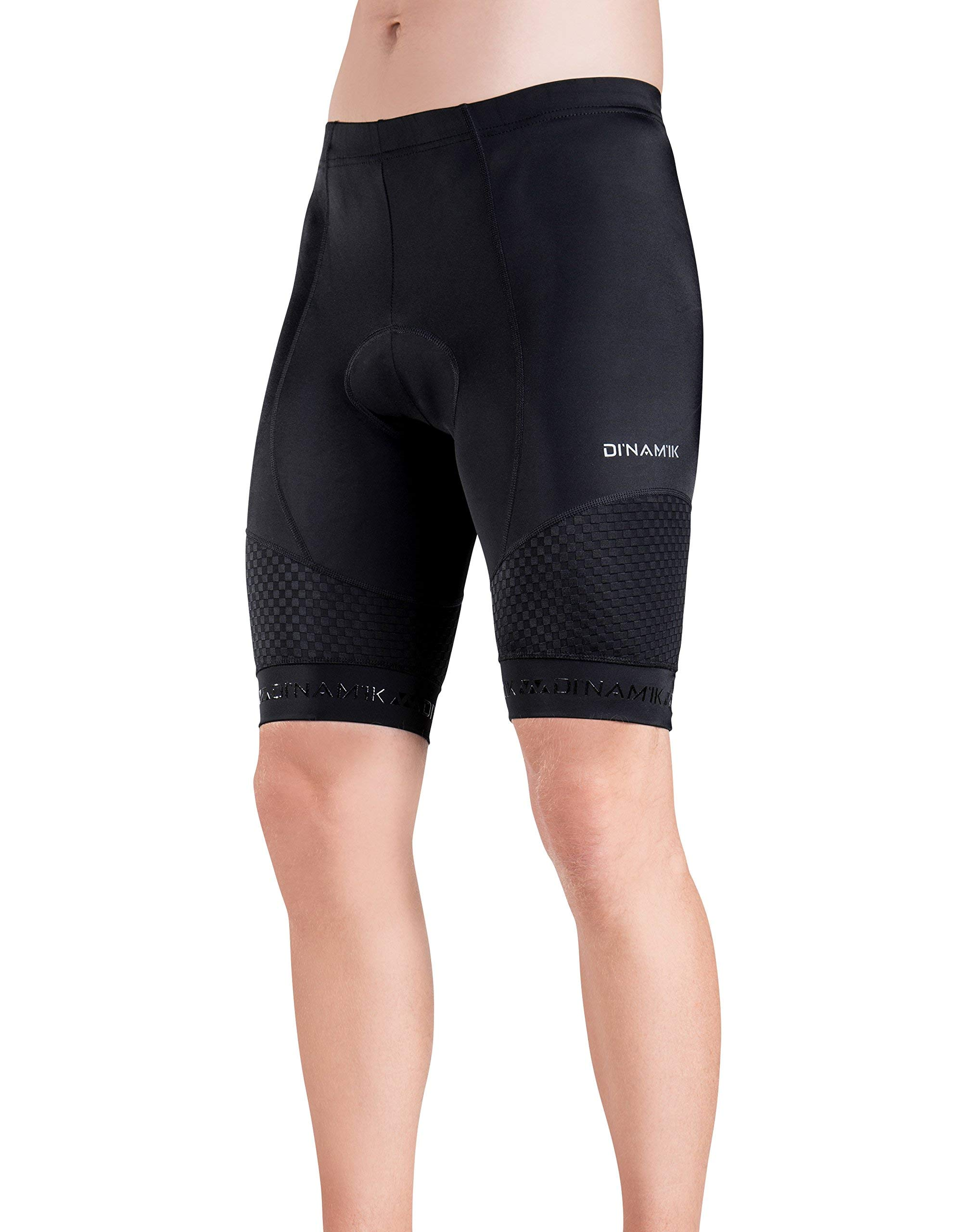 Men's Bike Shorts - Light, Breathable, Padded Stretch Cycling Pants - By Dinamik,Black,Medium by Dinamik