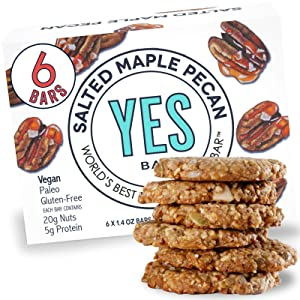 YES Bar – Salted Maple Pecan – Plant Based Protein, Decadent Snack Bar – Vegan, Paleo, Gluten Free, Dairy Free, Low Sugar, Healthy Snack, Breakfast, Low Carb, Keto Friendly (Pack of 6)