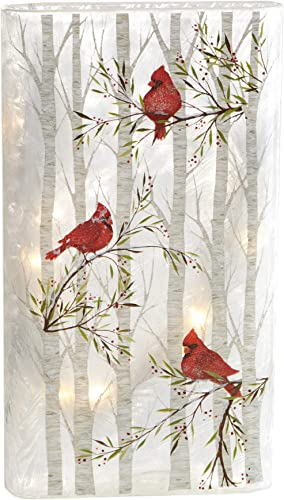 Midwest Glass Lighted LED Cardinal Tall Flat Vase