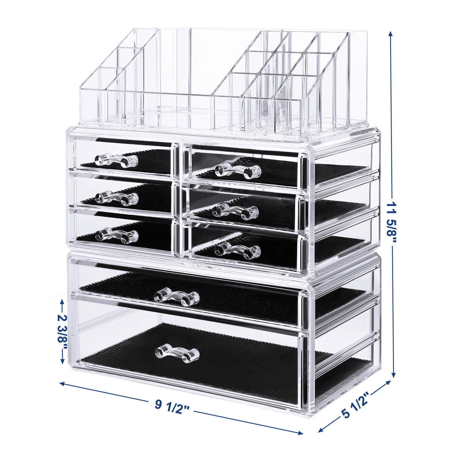 SONGMICS Acrylic Makeup Organizer 3 Pieces Set Cosmetic Storage Jewelry Display Case 8 Drawers 16 Top Compartments Brushes Pallets Powder Foundations Clear UJMU08T