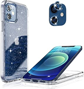 Hoerrye Compatible with iPhone 12 Phone Case for Women,[2 x Camera Lens Protector][Anti Yellowing][Crystal Glitter Clear & Shockproof Protective] Slim Thin 6.1