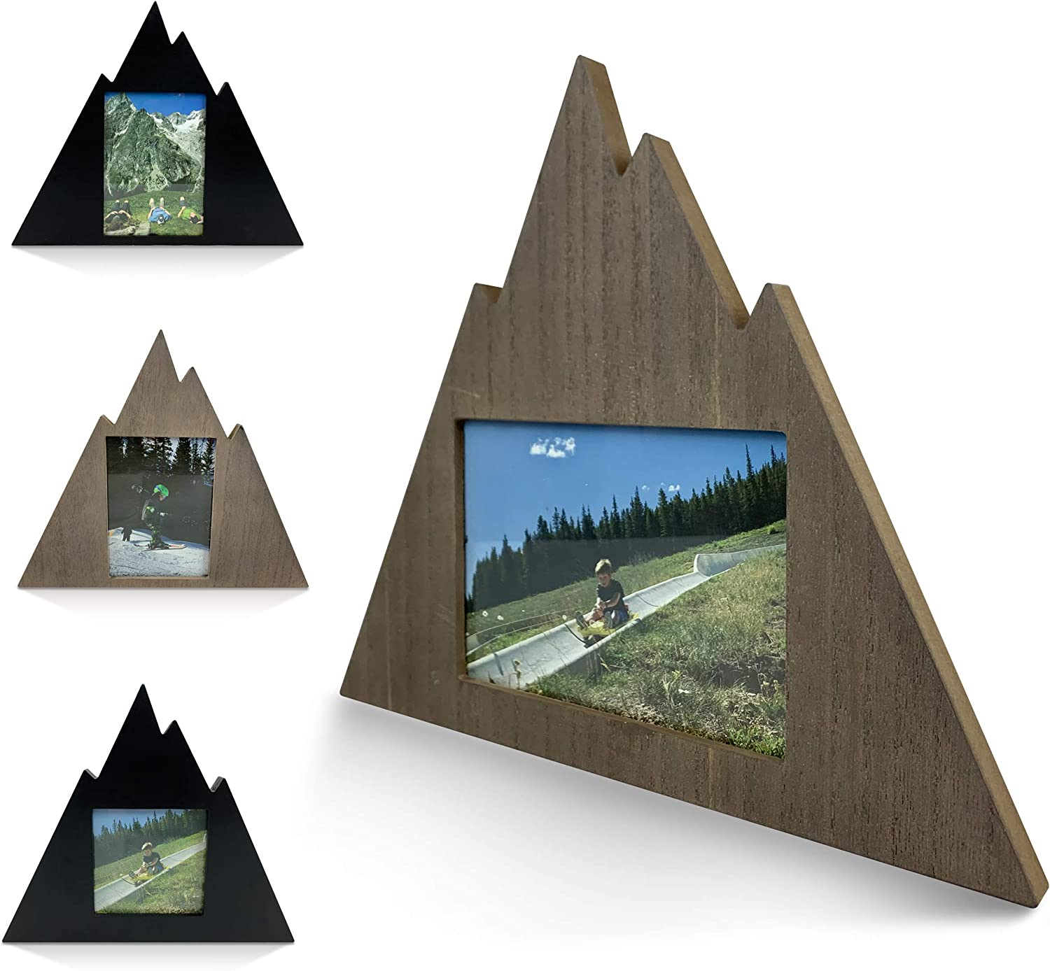 Mountain Shaped Outdoor Picture Photo Frame - Contemporary Geometric Modern Home Mountain Cabin Decor Wooden Wall Picture Frame (Rustic Gray - 5x7 Picture Frame - Horizontal)