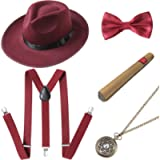 BABEYOND 1920s Mens Gatsby Gangster Costume Accessories Set