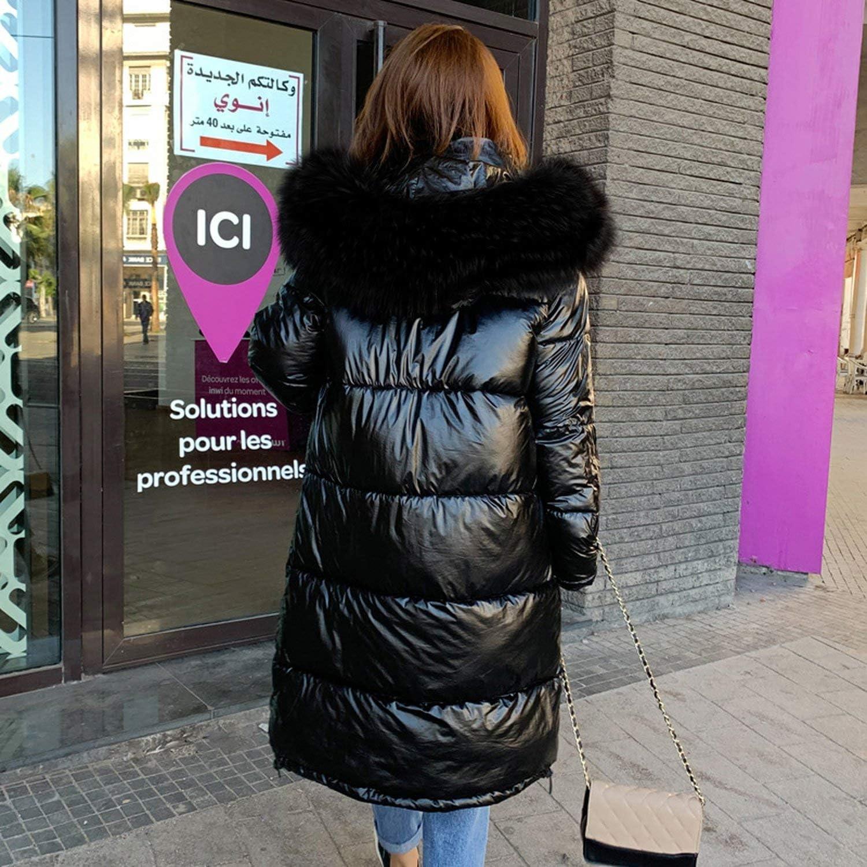 Pink-star Giacca Invernale Donna Caldo Addensare con Cappuccio con Pelliccia Cappotto Lungo Lucido Tessuto Elegante N-5923 C