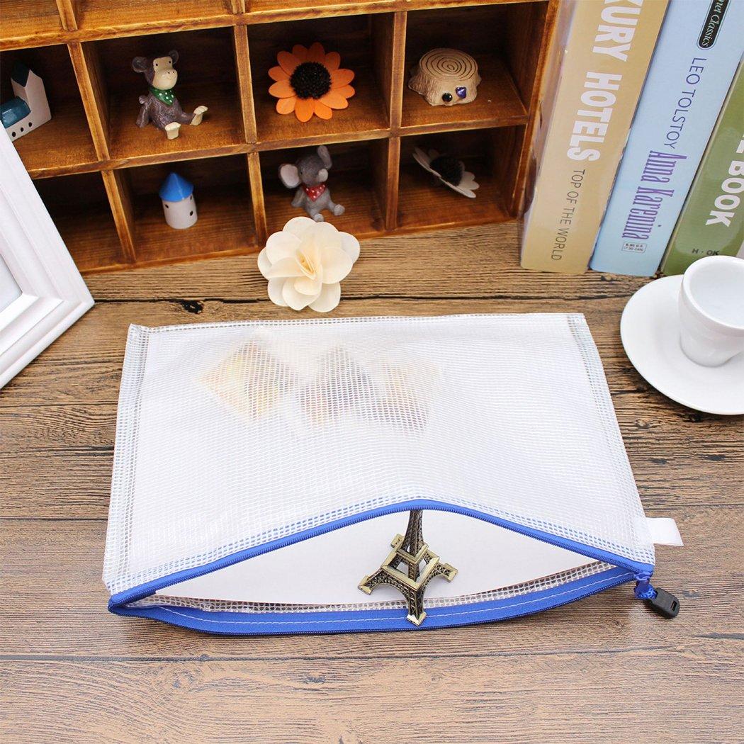 Set di 12 buste portadocumenti con cerniera di alta qualit/à resistenti agli strappi Blue Zoohot formato A4 impermeabili