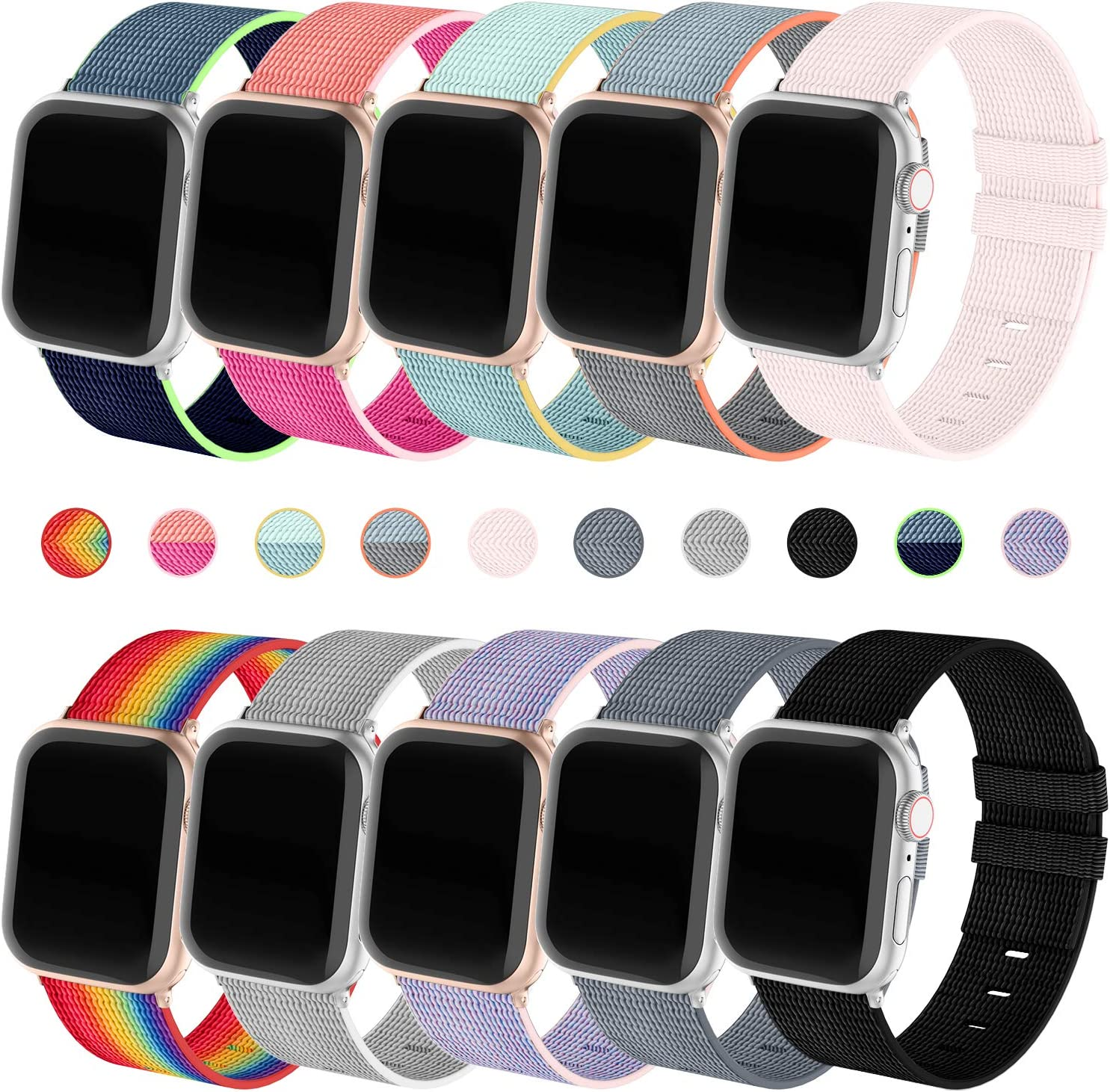 Recoppa 10 Pack Nylon Bands Compatible with Apple Watch Band 38mm 40mm 44mm 42mm Soft Sport Loop Breathable Strap Replacement for iWatch Series 6 5 4 3 2 1